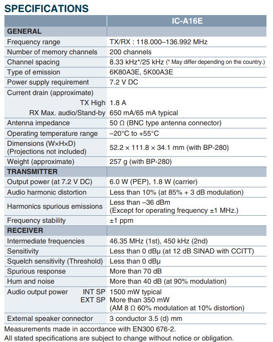 SPecifications IC-A16E